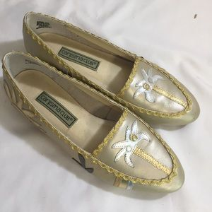 Vintage gold leather flats 8 coconut trees